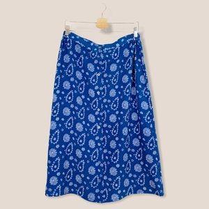 Vintage   Blue Paisley Button Front Midi Skirt